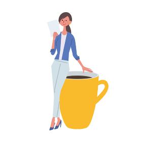 書類をもつ女性 イラスト ビジネスイメージ