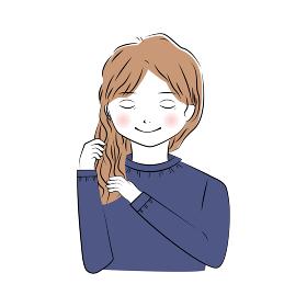 髪のケアをするロングヘアの若い女性のイラスト(上半身)