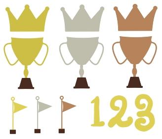金銀銅の王冠と旗