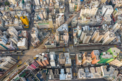 Sham Shui po, Hong Kong 19 March 2019: Top view of Hong Kong city