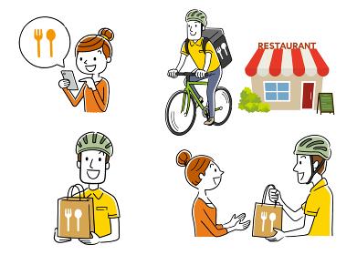 イラスト素材:フードデリバリー、配達員、自転車、セット、コレクション