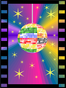 Colorful disco ball in the film strip