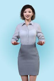 ドット柄のブラウスを着た女性社員が両手で何かを持ち上げるポーズ