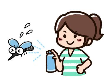 虫よけスプレーを使う女性 蚊