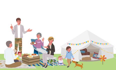 キャンプ ベランピング 三世代親子のイラスト ピクニック