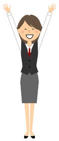 バンザイをする制服姿の女性