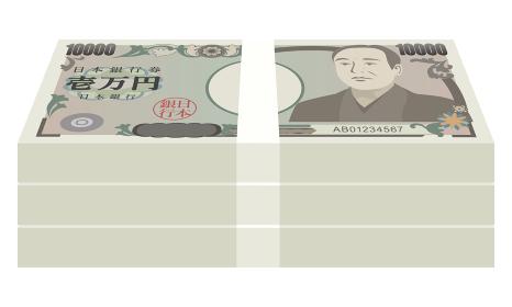 1万円札の札束(300万円)のベクターイラスト