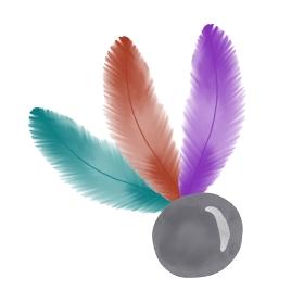 水彩手書き風の羽子板の羽のイラスト
