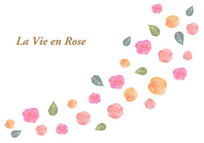 水彩手書きのバラのフレーム