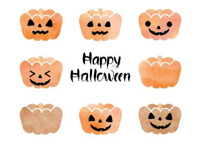 ハッピーハロウィンという手書きの筆文字と水彩風かぼちゃ