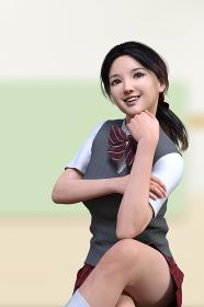 教室の緑色のボードの前で腕を組み頬杖をしたグレーのベストの制服の笑顔の女子高生が足を組んで座る