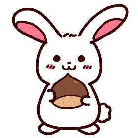 栗を持ったウサギ