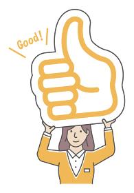 イイね・サムズアップマークのプラカードを持ち上げる 若い女性 人物イラスト(上半身)