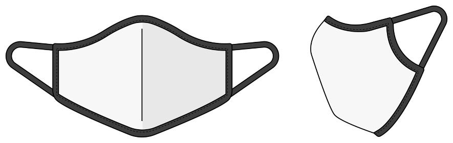 マスク テンプレートイラスト (パイピングタイプ) / 新型コロナウイルス・インフルエンザ・花粉症