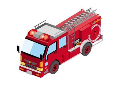 働く車 日本の消防車|アイソメトリックスの自動車の立体イラスト3D