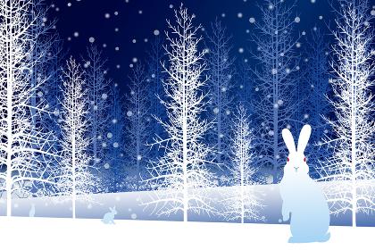 雪の降る森とうさぎ イラスト