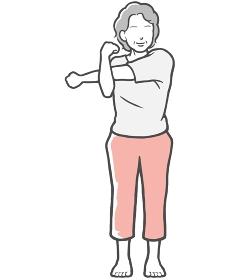 腕伸ばし 中年女性 ストレッチ