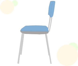 青色のパイプ椅子の横側