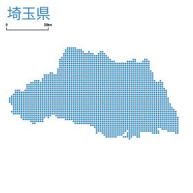 埼玉県,の詳細地図北関東地方 都道府県別ドット表現の地図のイラスト ベクターデータ