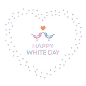 ホワイトデー ハート形リースとラブラブの小鳥のカップル
