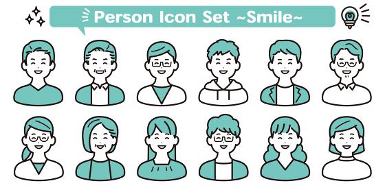私服 シンプルな人物アイコン素材セット 笑顔