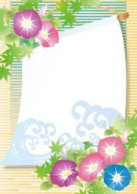 夏の涼しげな水彩のあじさいイラスト