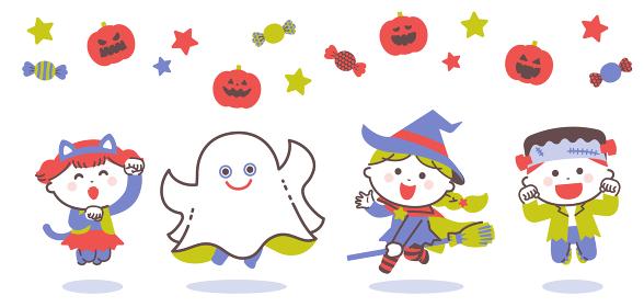ハロウィンのおばけの衣装を着てジャンプする子どもたち / 4色・シンプルカラー