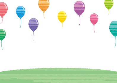 水彩風の風船と草原