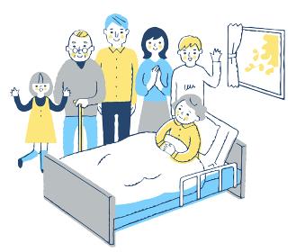 ベッドにいるおばあちゃんと家族