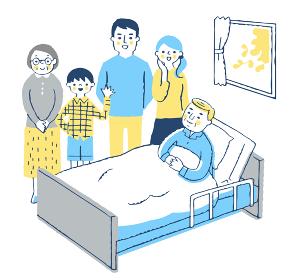 ベッドにいるおじいちゃんと家族
