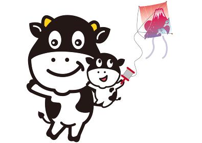 丑年の牛の親子の凧揚げ