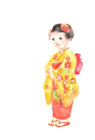七五三で着物を着た女の子のイラスト