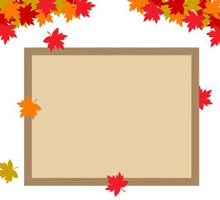 秋の紅葉とボード フレーム素材