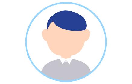 顔のない人物アイコン 青いフレームつき