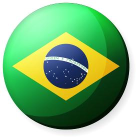 半球体・円形 国旗イラスト ( 光沢・缶バッジ ) / ブラジル