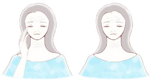 顔と首にシワや小じわがある目を閉じた女性