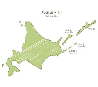 手書きの北海道マップイラスト