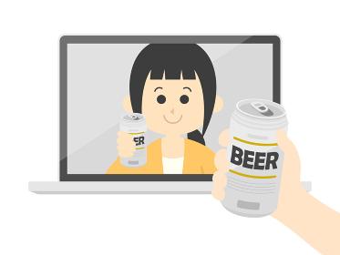 オンライン飲み会をする人のイラスト