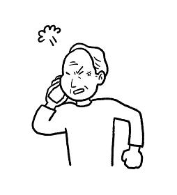 クレームの電話をするシニア男性の線画イラスト