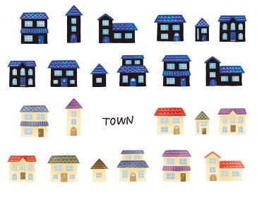 夜と昼の色々な家のイラストセット