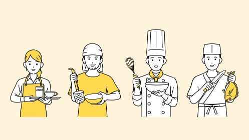 料理人 シェフ 調理師 飲食店の店員 人々 イラスト素材