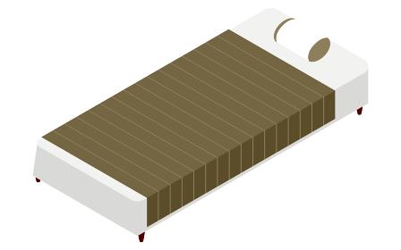 簡素なシーツのかかったベッド、アイソメトリック