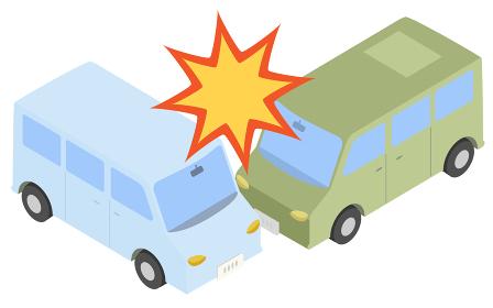 アイソメトリック、乗用車の衝突事故のイラス
