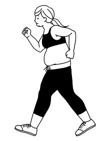 ウォーキングしている肥満の女性 猫背 黒