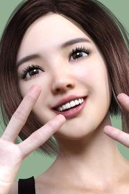 笑顔の日本人女性が両手をピースサインしている