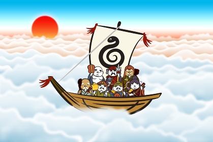 宝船に七福神と朝日 イラスト