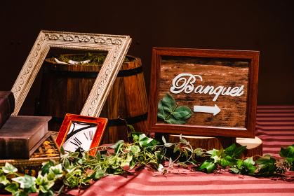 結婚披露宴会場の案内板 バンケット