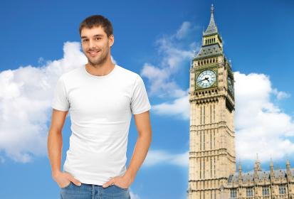 happy man in blank white t-shirt over big ben