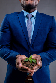 Mid section of african american businessman holding a seedling against grey background. business growth and investment concept
