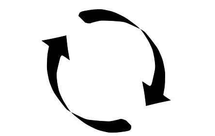 絞りのある回転矢印のシルエット